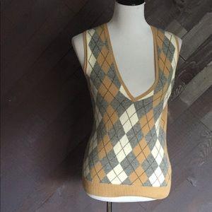 J. Crew Tan Argyle Patterned Sweater